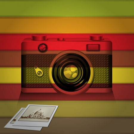 Retro camera and photo memories with colorful background Vector