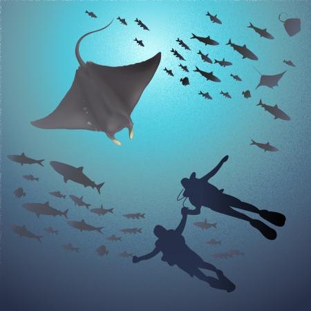 the reef: Ilustraci�n de Manta Ray y buzos bajo el mar Vectores