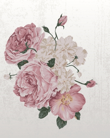古美術品: バラとヴィンテージ古いバラのグランジ紙の背景の図