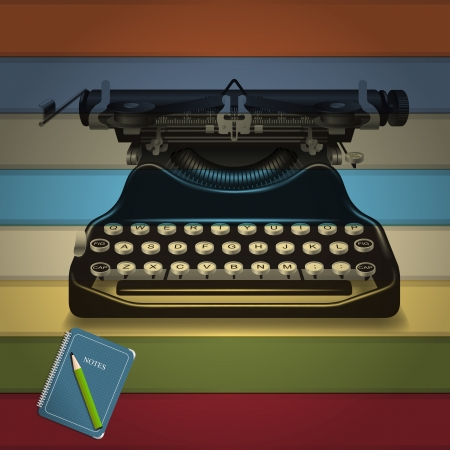 Retro Schreibmaschine und Notizblock Erinnerungen mit farbigen Hintergrund