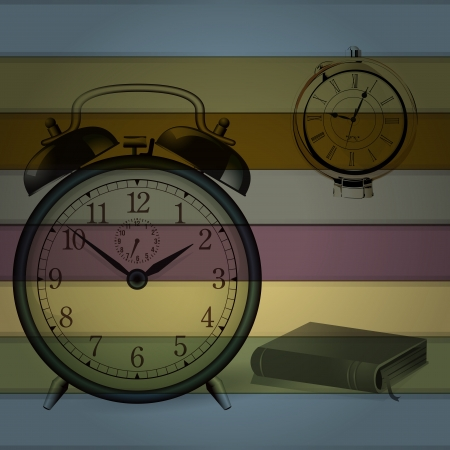 Retro Alarm clock with colorful background Vector