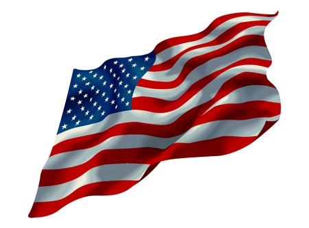 白で隔離されるアメリカ合衆国の旗