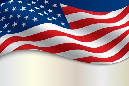 bandera americana: la bandera de los Estados Unidos de Am�rica, con copia espacio