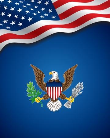 aigle: affiche de Jour de l'Indépendance aux Etats-Unis Illustration
