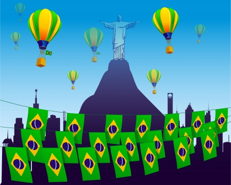 world soccer football 2014 decorated with flags in Brazil Stock Vector - 14204140