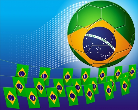 Brazil soccer football decorated with flags of Brazil Stock Vector - 14204148