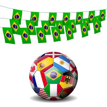 world soccer football decorated with flags of Brazil Stock Vector - 14204147