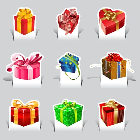 paper cut vacation of gift box set Vector