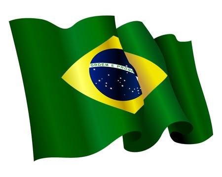 floating, streaming Flag of Brazil on white background Stock Vector - 14204139