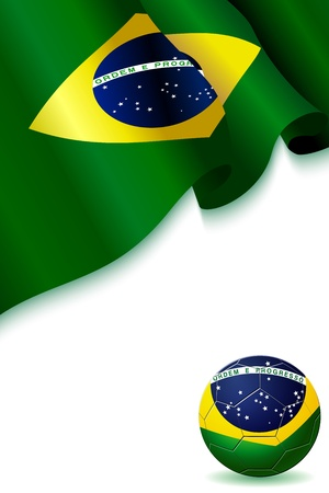 floating, streaming Flag of Brazil with Barsil soccer Football