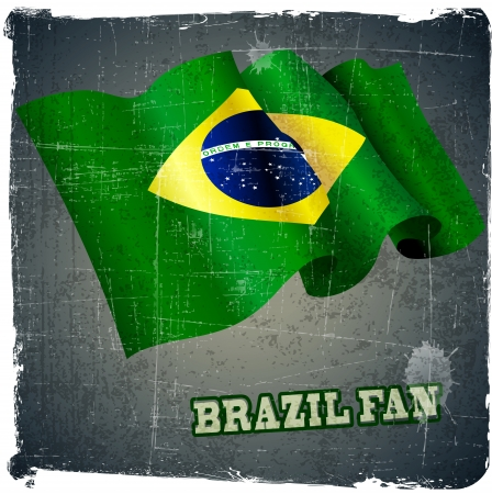 play date: flag of Brazil fan football world cup grunge background