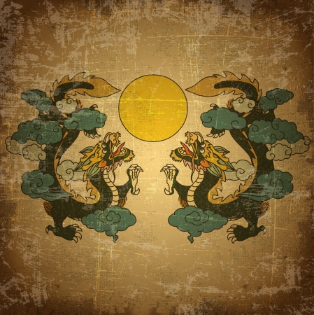 ancient japanese: Chinese dragon on old grunge paper background