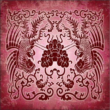 Chinese ornament phoenix on red grunge paper Vector