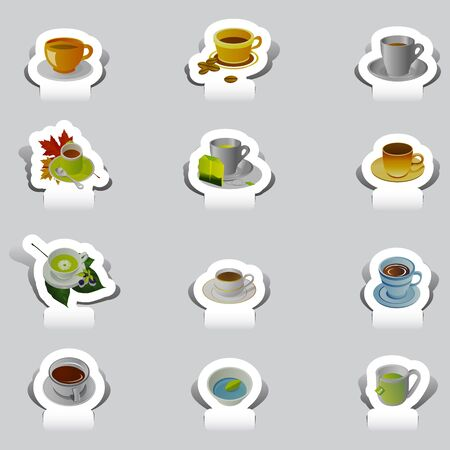 paper cut various cup of tea and coffee set Vector