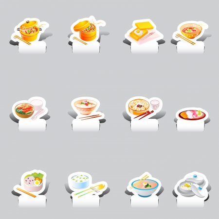 paper cut various soba noodles set Vector