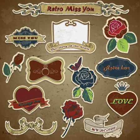 retro vintage roses, love, heart on grunge background Vector