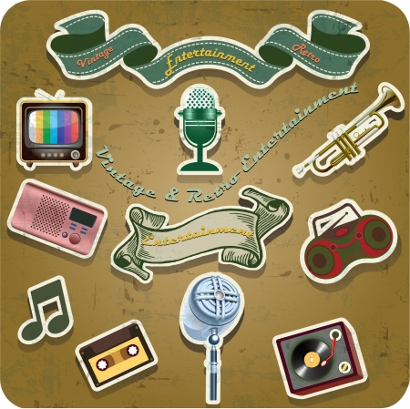 retro vintage TV, Radio, entertainment on grunge background Vector