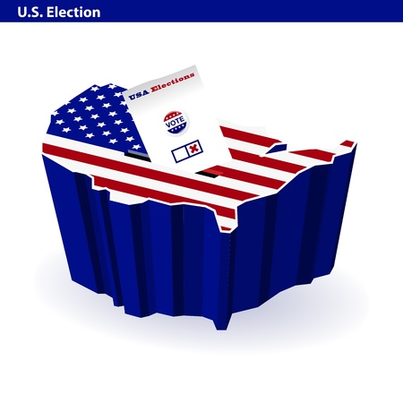 voting ballot: US presidential ballot box usa map shape Illustration