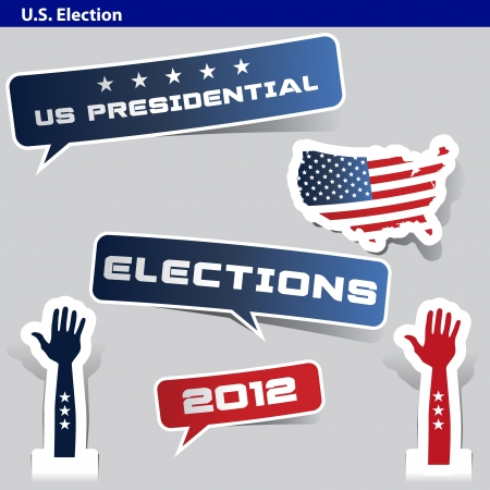 paper cut US presidential 2012 election Vector