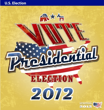 pealing: vintage US presidential 2012 election sign or poster
