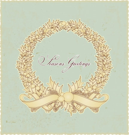 Vintage retro Christmas wreath seasons greetings Vector