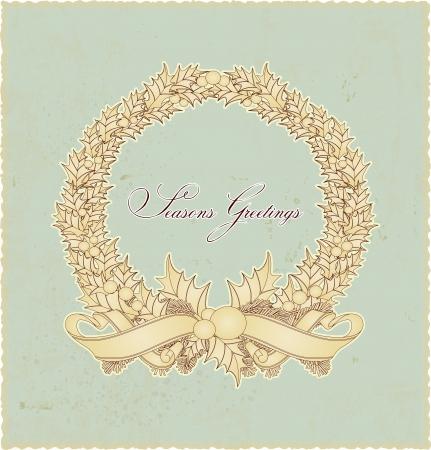 Vintage retro Christmas wreath seasons greetings Stock Vector - 14303379
