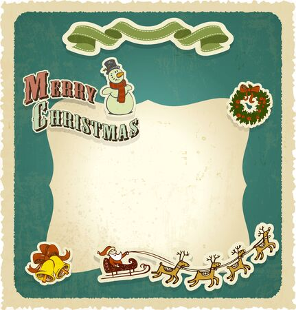 retro vintage christmas frame seasons greetings Vector