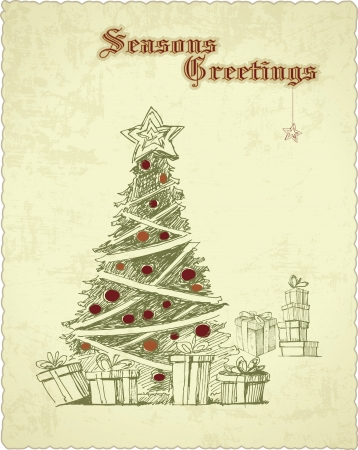 hand drawn vintage christmas tree seasons greetings card Vector