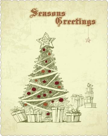 Hand gezeichnet Weinlese-Weihnachtsbaum-Jahreszeit-Grußkarte Vektorgrafik