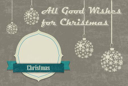 Vintage seasons greetings Christmas card with Christmas ball and snowflake Vector