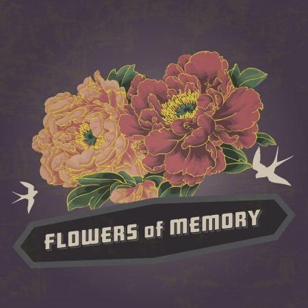 golondrina: flor de la vendimia de la flor de la memoria Vectores