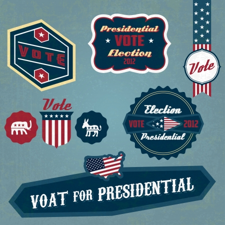 vintage US presidential 2012 election label Stock Vector - 14377289