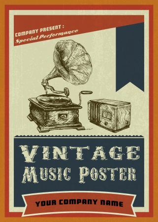 music dj: vintage music poster with hand draw turntable and loudspeaker