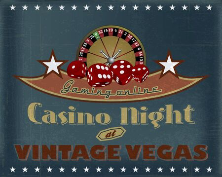 casino night vintage vegas gaming online poster Vector