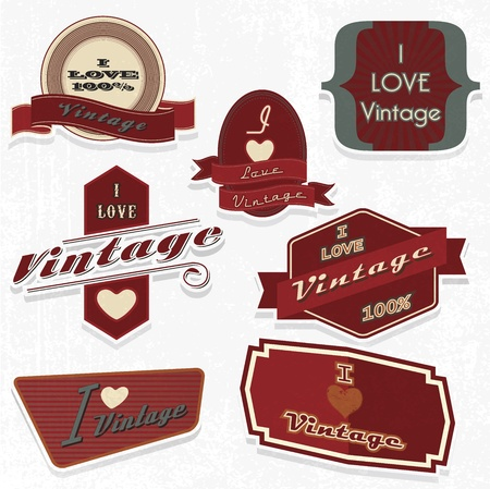 scrapbook design elements i love vintage set Vector