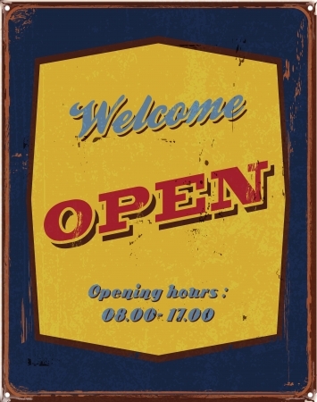 re: vintage tin poster welcome open sign