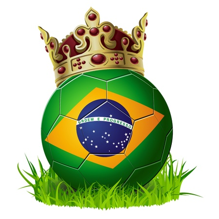 the national team: king of soccer football Brazil with cown and grass