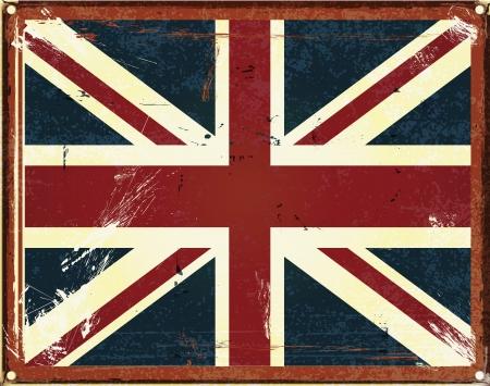 brit�nico: sinal da lata estilo do vintage com a bandeira brit�nica Ilustra��o