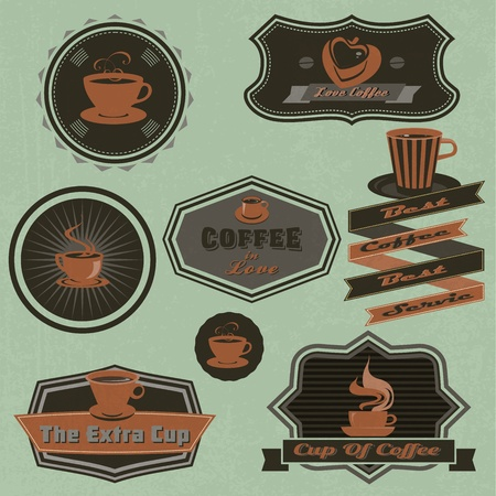 Coffee labels and badges, Retro and vintage style collection. Vector