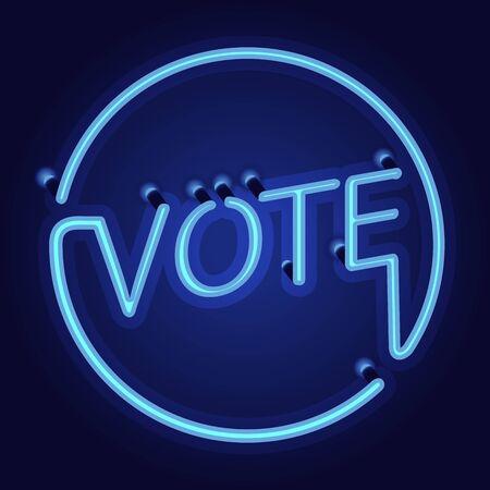 suffrage: neon light word vote on blue background Illustration