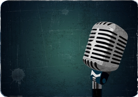 concert audience: retro or vintage microphone grunge background