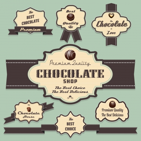 vintage etiket: Chocolade etiketten en insignes retro en vintage stijl collectie