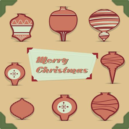 retro vintage Christmas balls collection set Vector