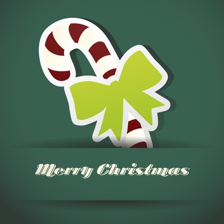 Christmas stick with ribbon Christmas card Vector