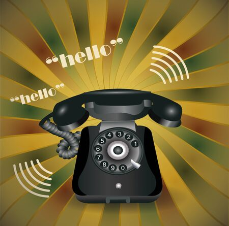 Vintage background with old telephone Stock Vector - 14479796