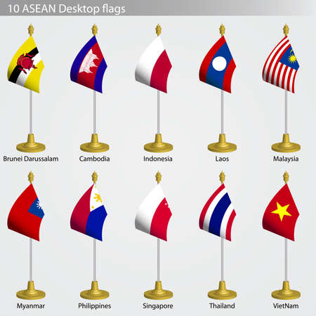 diplomacy: ASEAN Table flags, flags of ASEAN collection set
