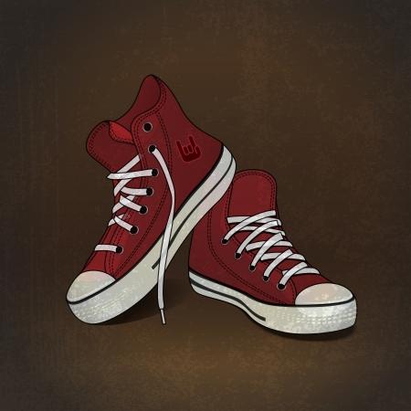 chaussure sport: baskets illustration rouges sur fond grunge