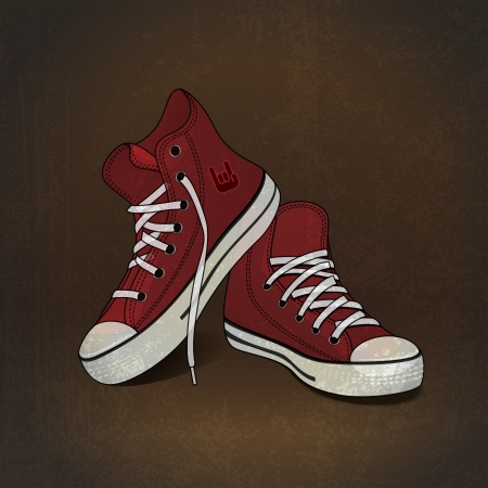 lacing sneakers: illustration red sneakers on grunge background