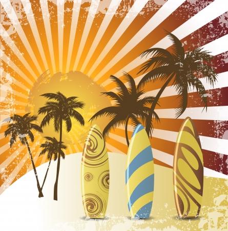 surf silhouettes: Grunge surfer manifesto, sfondo tropicale con surfer