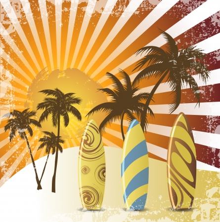 surf silhouettes: Grunge surfer poster,Tropical background with surfer